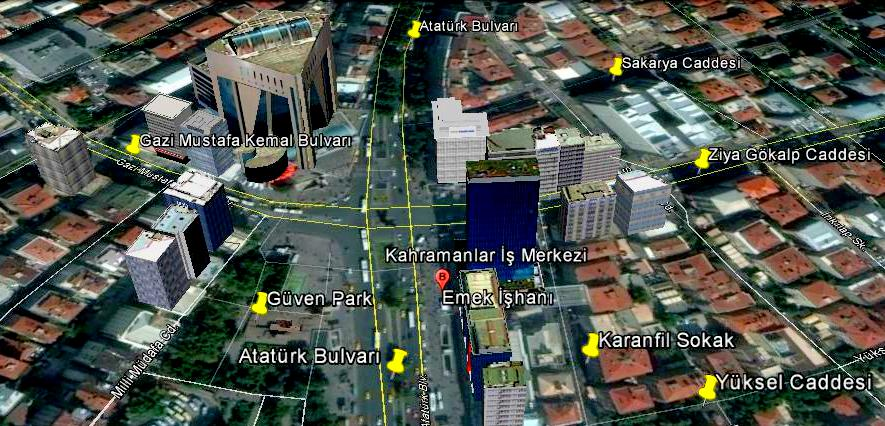 Kızılay Meydanı-Google Earth